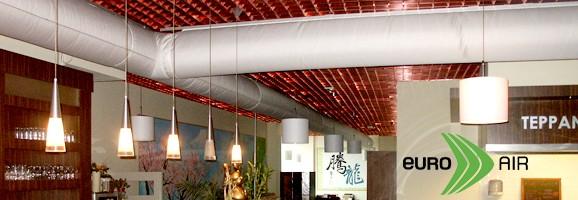 จุดเด่น Euro Air - Fabric Duct   Fabric Ducts หรือที่รู้จักกันในชื่อ Air Sock Duct, Air Duct Sock, Air Sox Duct, Air Duct Sox, Textile Air Duct ใช้ทดแทน ท่อส่งลมสังกะสี (galvanized metal air duct) เพราะต้นทุนถูกกว่า ติดตั้งง่ายและเสร็จเร็วกว่า ไม่ต้องหุ้มฉนวน น้ำหนักเบากว่า เงียบไร้เสียงรบกวน ซักทำความสะอาดได้จึงปลอดเชื้อโรค มีสีสรรให้เลือกมากมาย อายุใช้งานนานนับ 10 ปี